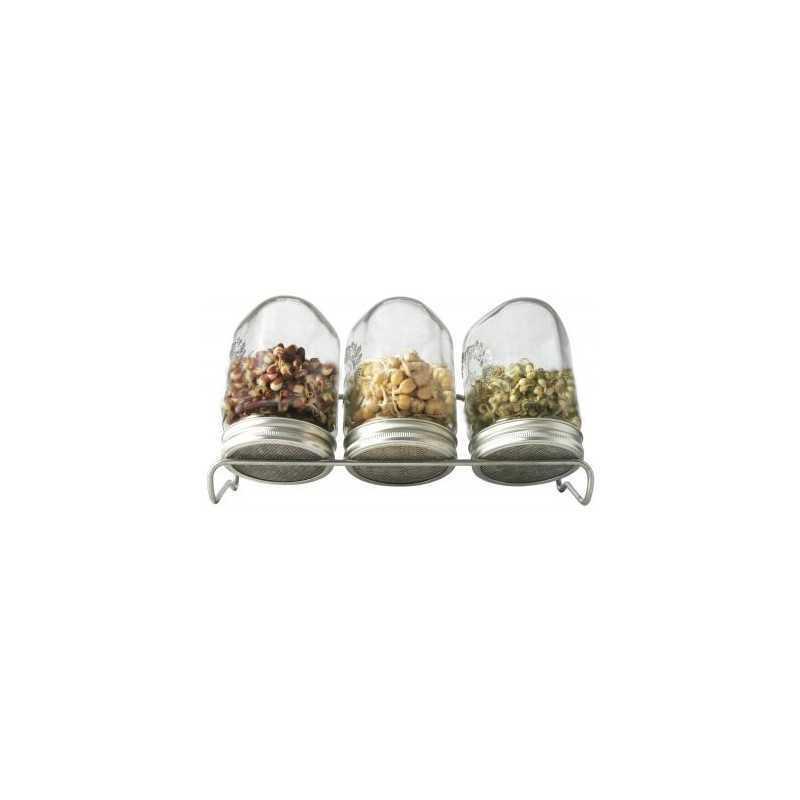 Kiemglas trio (1000 ml) met houder