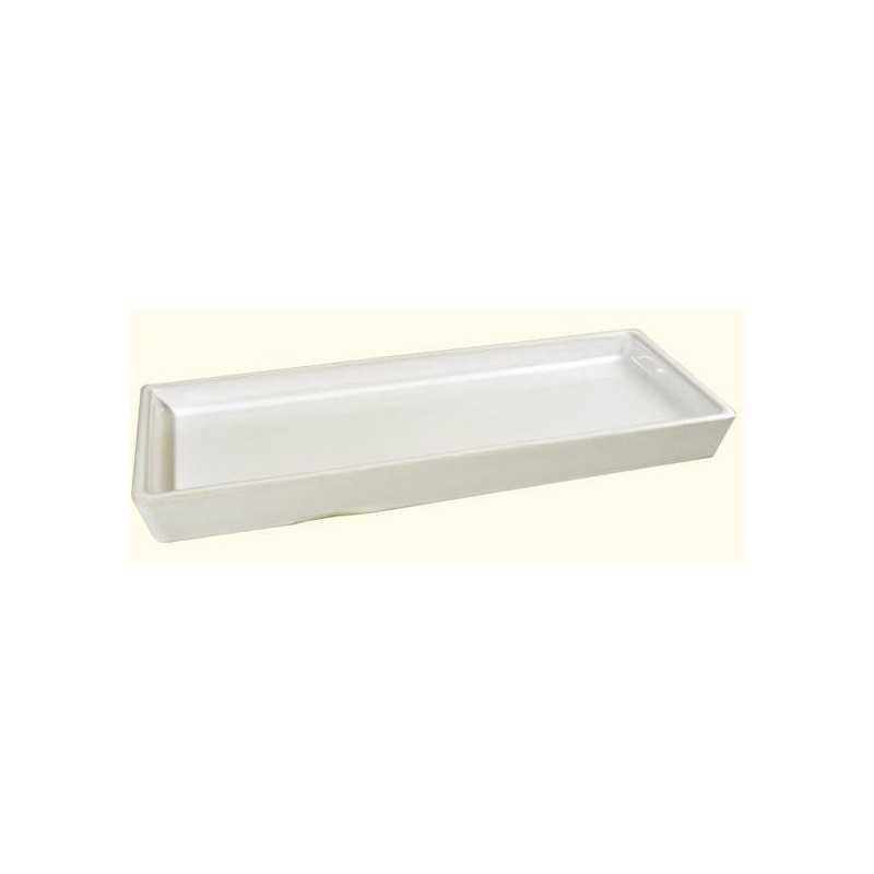 Druppelschaal wit, geglazuurd terracotta