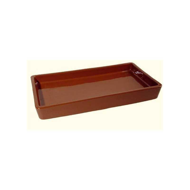 Druppelschaal bruin, geglazuurd terracotta