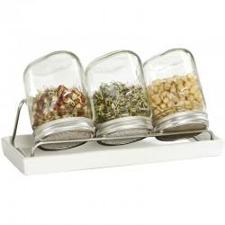 Kiemglas trio (750 ml) met houder en druppelschaal